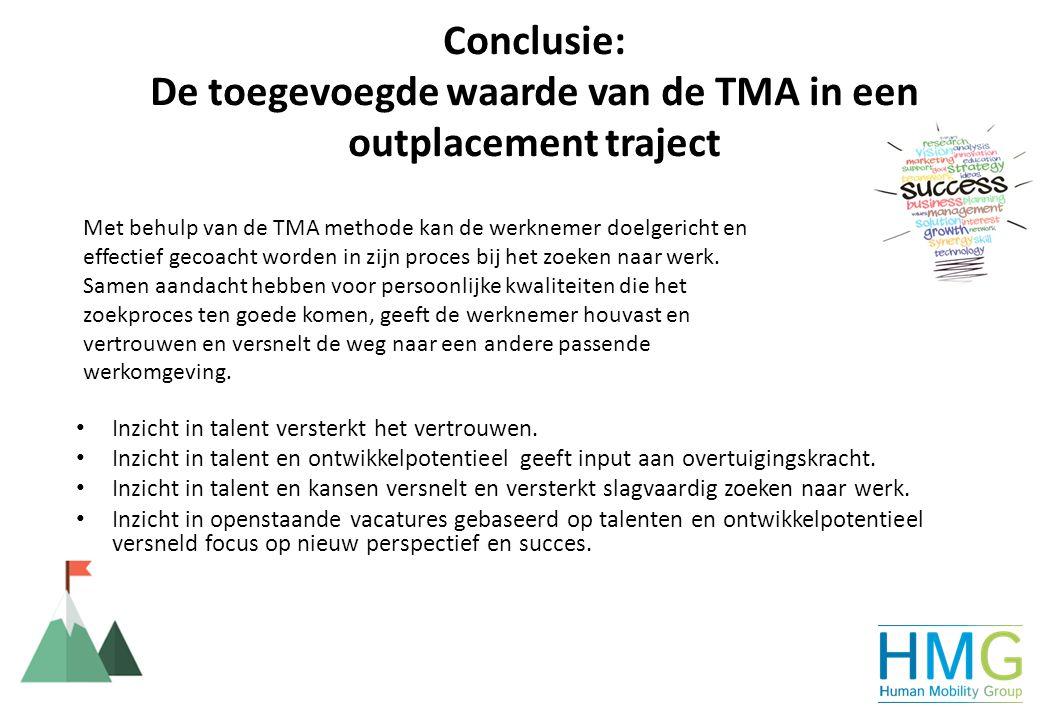 Conclusie: De toegevoegde waarde van de TMA in een outplacement traject