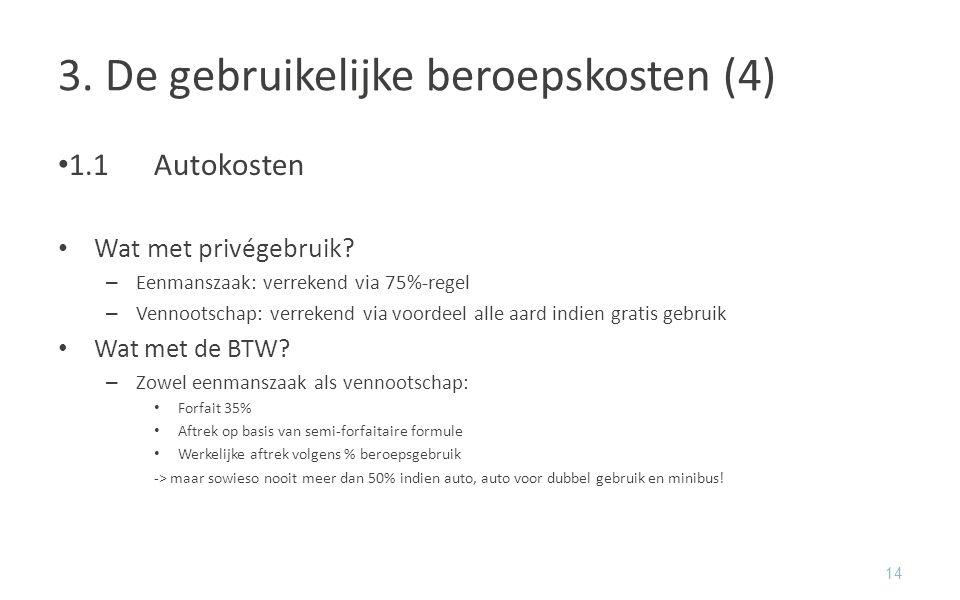 3. De gebruikelijke beroepskosten (4)
