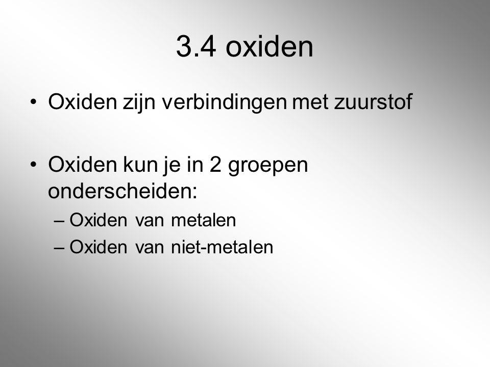3.4 oxiden Oxiden zijn verbindingen met zuurstof