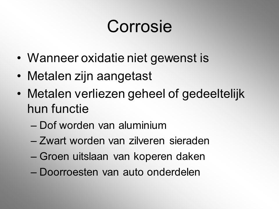 Corrosie Wanneer oxidatie niet gewenst is Metalen zijn aangetast