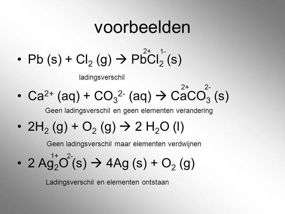voorbeelden Pb (s) + Cl2 (g)  PbCl2 (s)