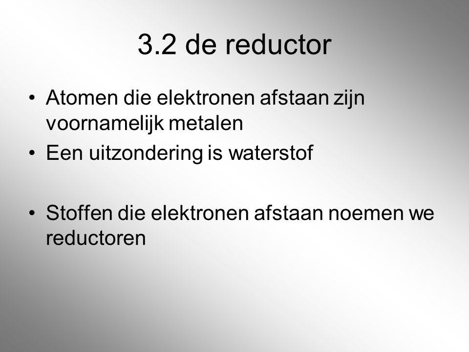 3.2 de reductor Atomen die elektronen afstaan zijn voornamelijk metalen. Een uitzondering is waterstof.