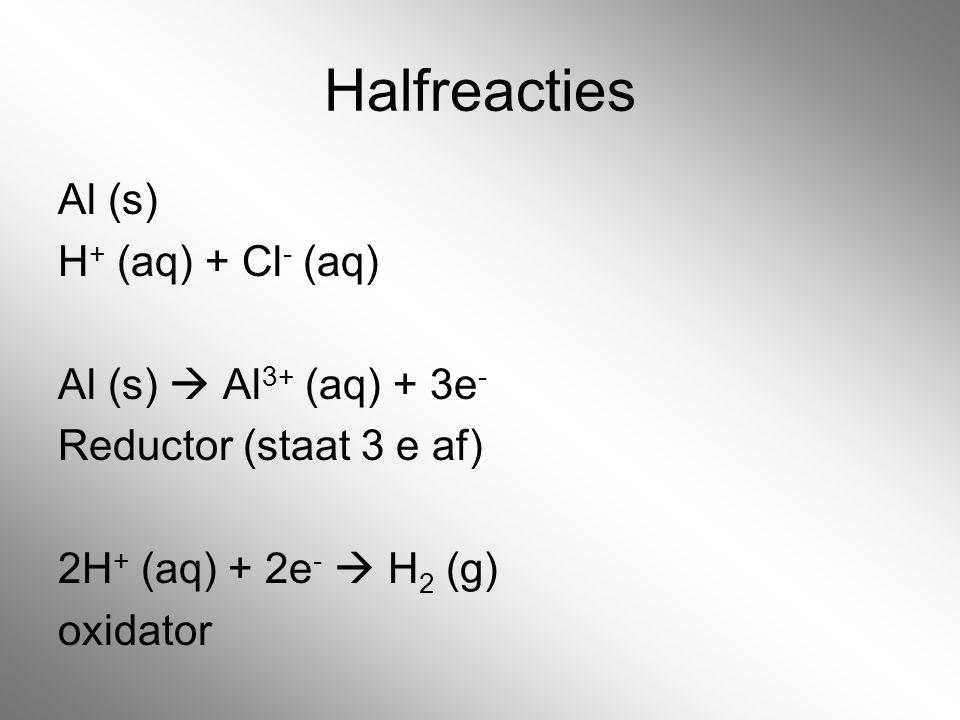 Halfreacties Al (s) H+ (aq) + Cl- (aq) Al (s)  Al3+ (aq) + 3e- Reductor (staat 3 e af) 2H+ (aq) + 2e-  H2 (g) oxidator