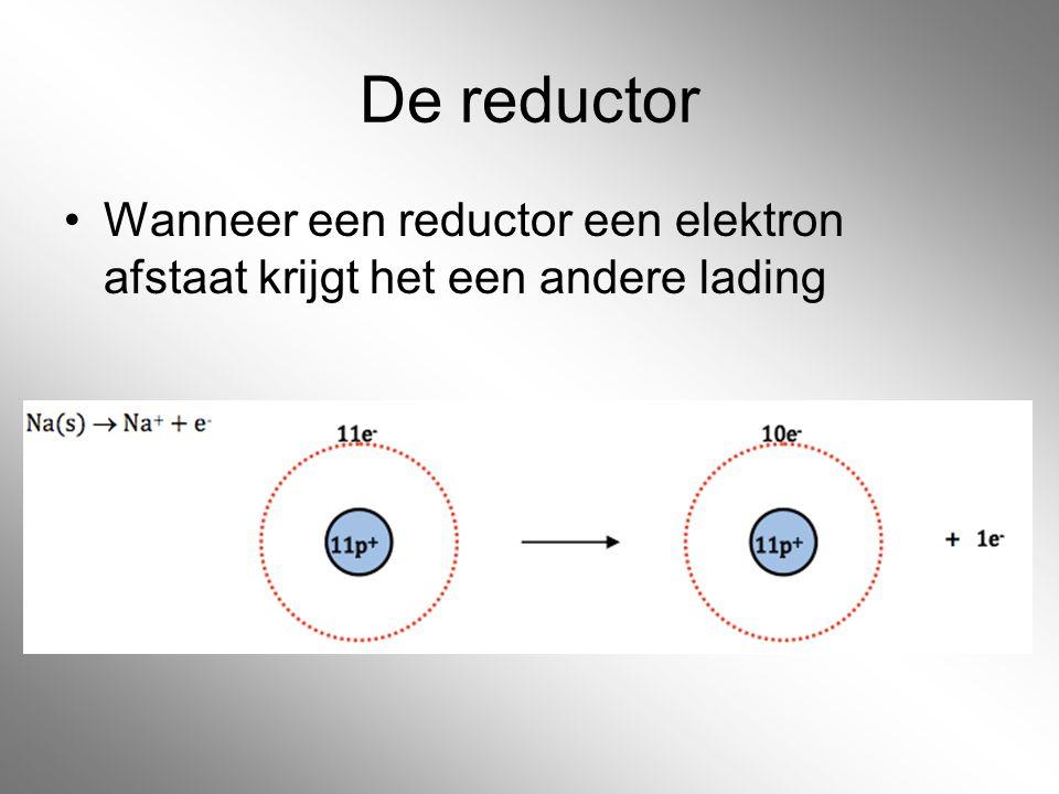 De reductor Wanneer een reductor een elektron afstaat krijgt het een andere lading