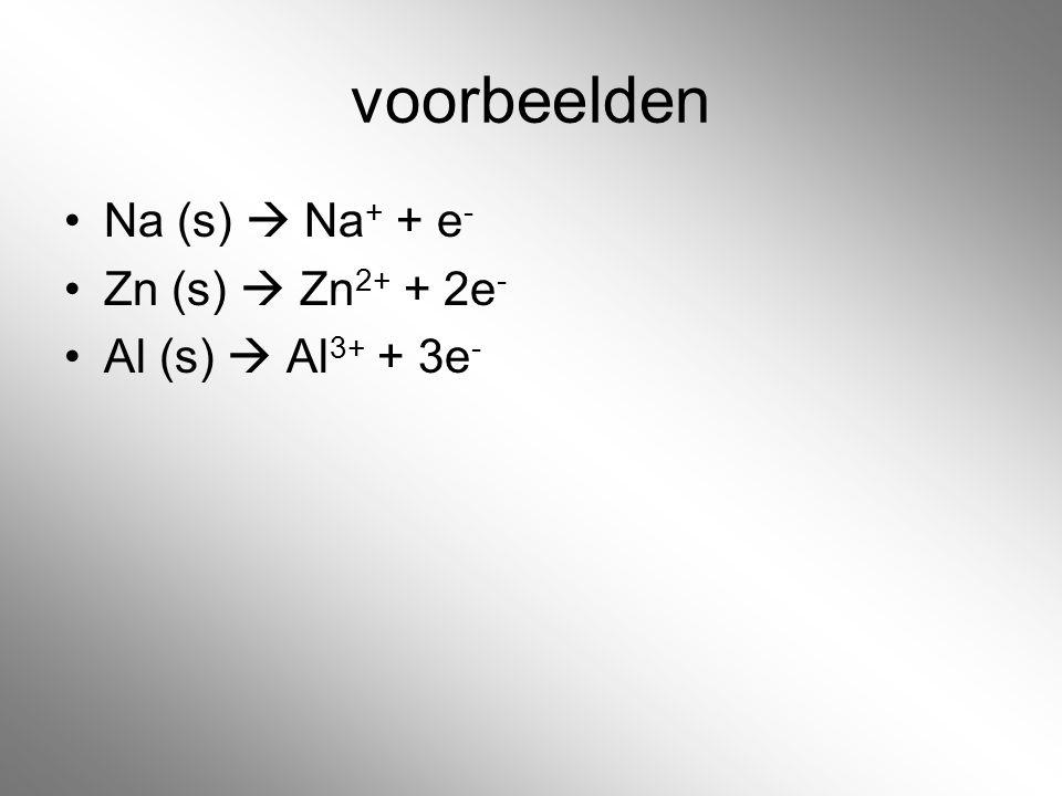 voorbeelden Na (s)  Na+ + e- Zn (s)  Zn2+ + 2e- Al (s)  Al3+ + 3e-