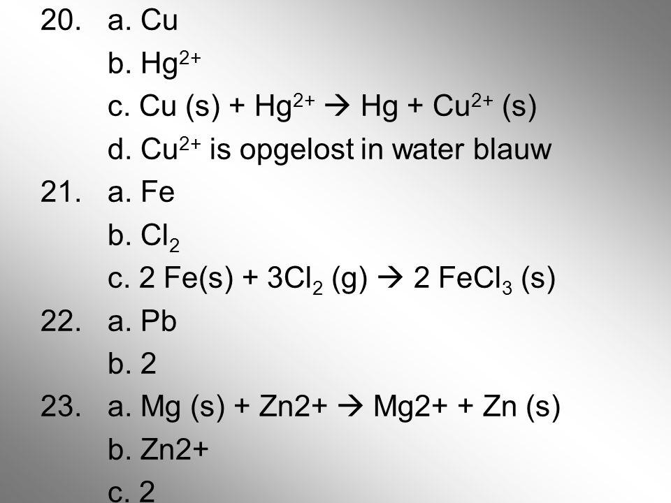 20. a. Cu b. Hg2+ c. Cu (s) + Hg2+  Hg + Cu2+ (s) d