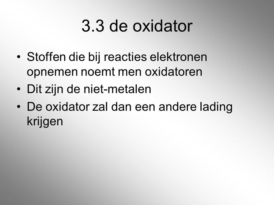 3.3 de oxidator Stoffen die bij reacties elektronen opnemen noemt men oxidatoren. Dit zijn de niet-metalen.