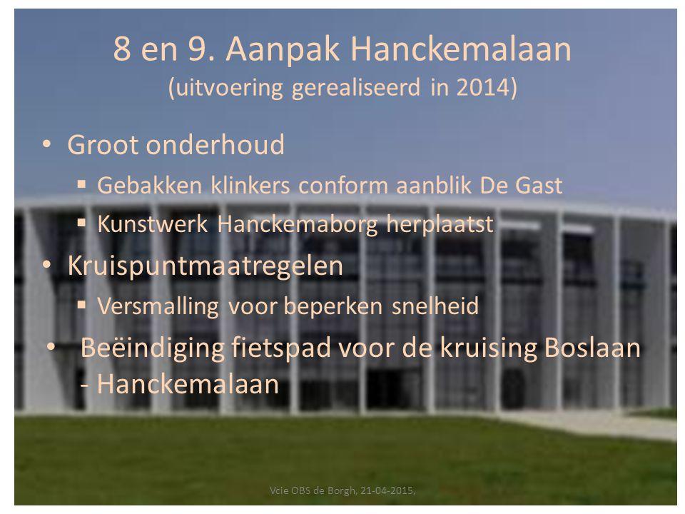 8 en 9. Aanpak Hanckemalaan (uitvoering gerealiseerd in 2014)
