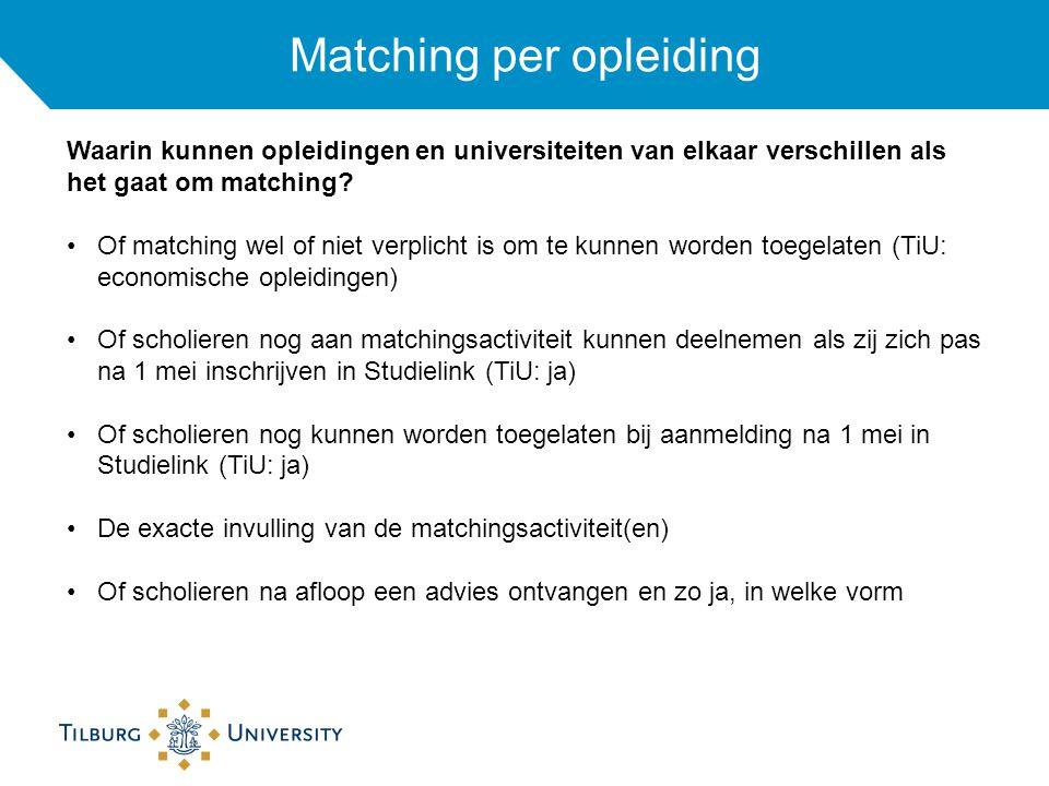 Matching per opleiding