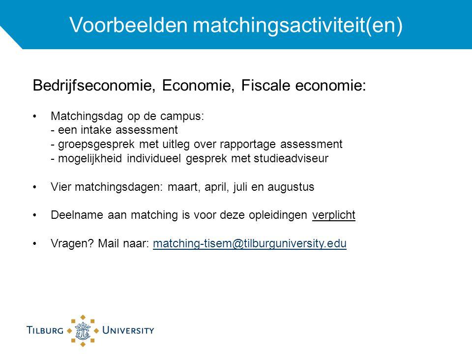Voorbeelden matchingsactiviteit(en)