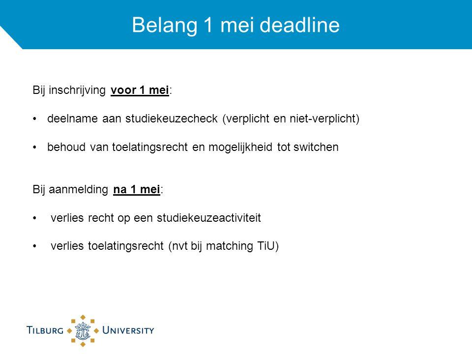 Belang 1 mei deadline Bij inschrijving voor 1 mei: