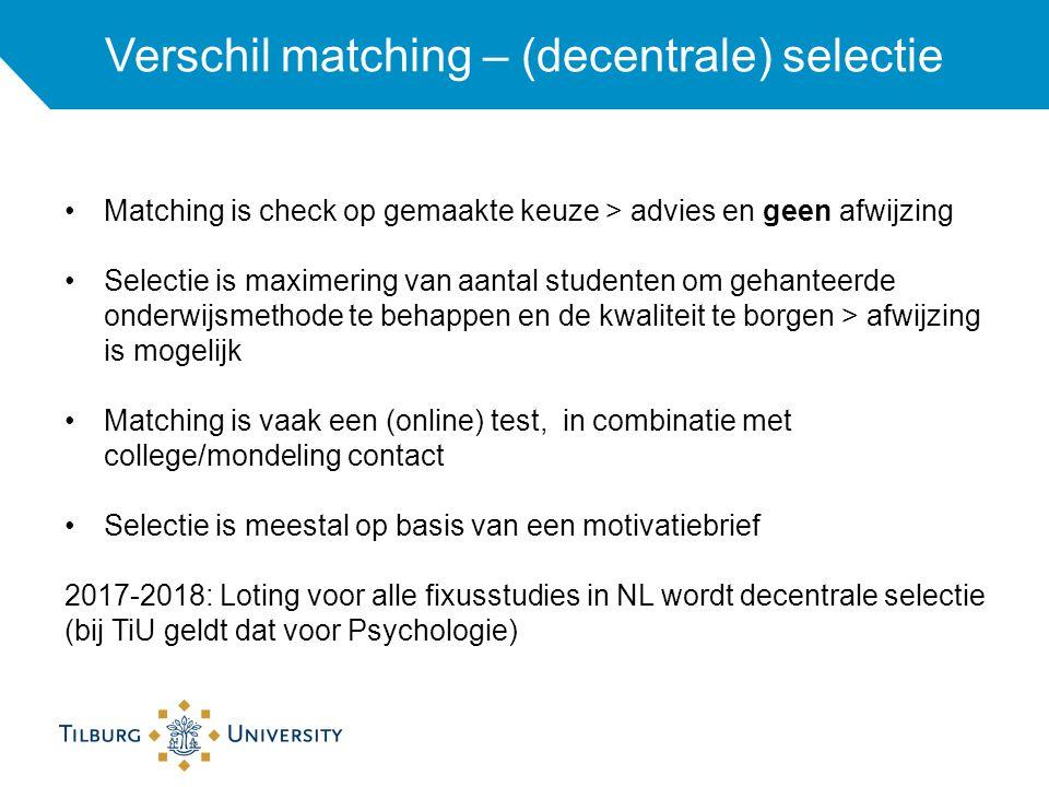 Verschil matching – (decentrale) selectie
