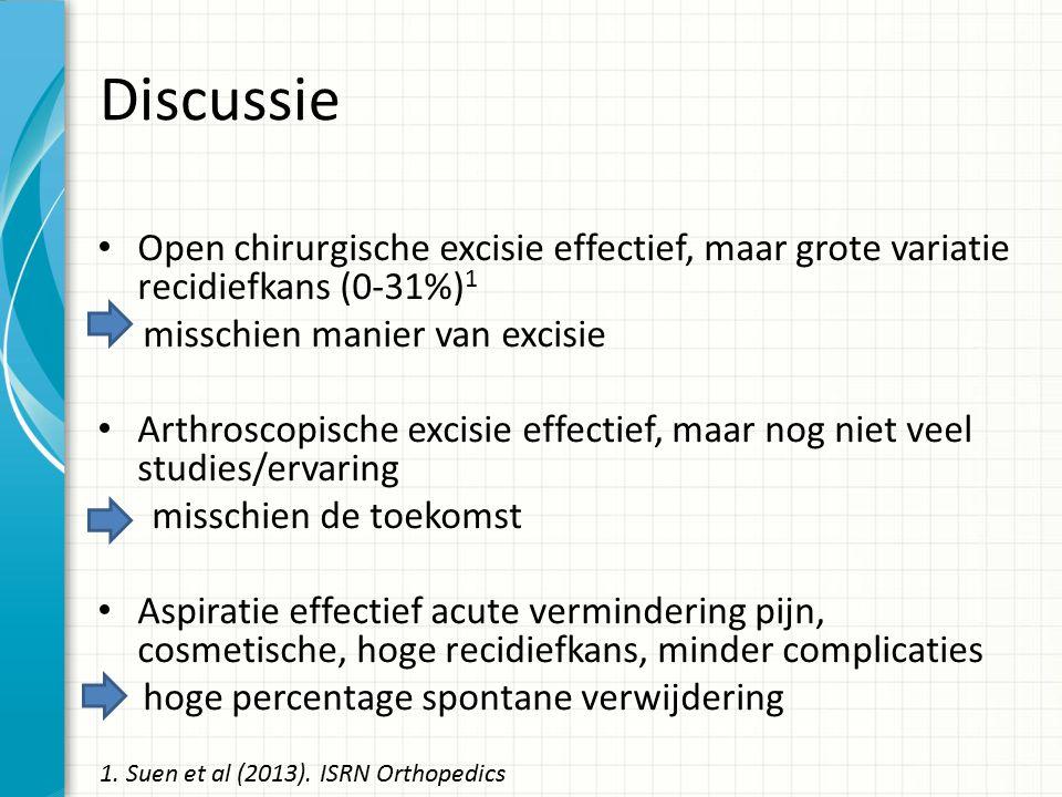 Discussie Open chirurgische excisie effectief, maar grote variatie recidiefkans (0-31%)1. misschien manier van excisie.
