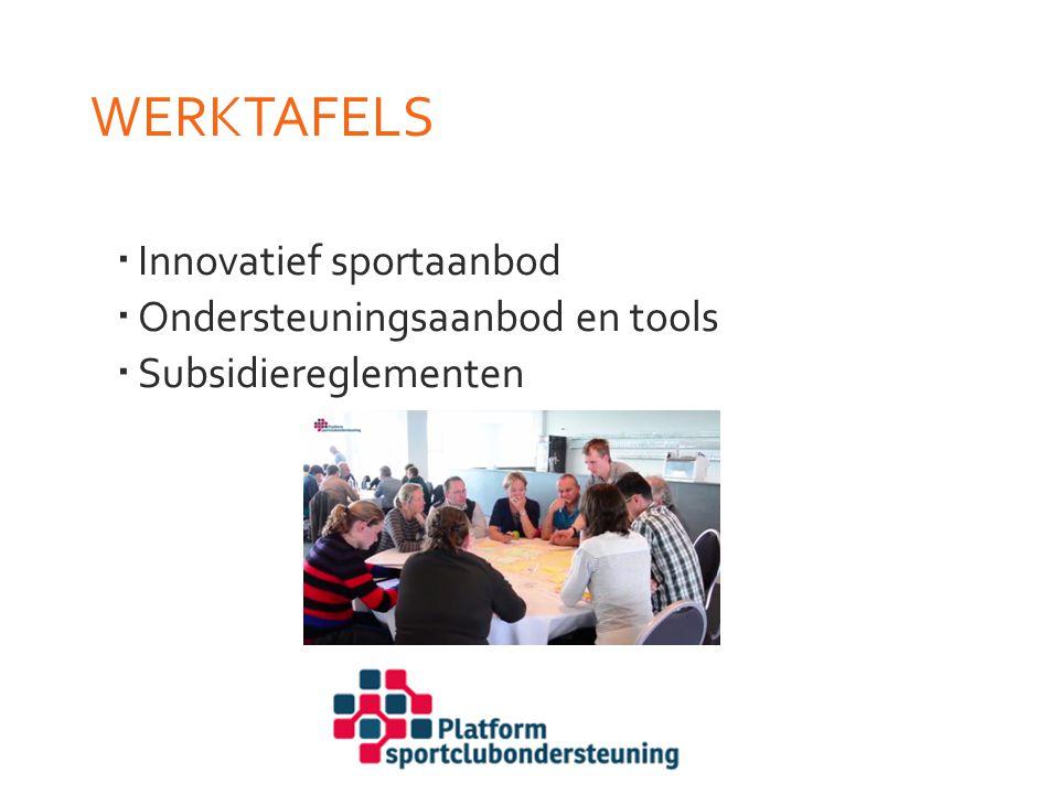 WERKTAFELS Innovatief sportaanbod Ondersteuningsaanbod en tools