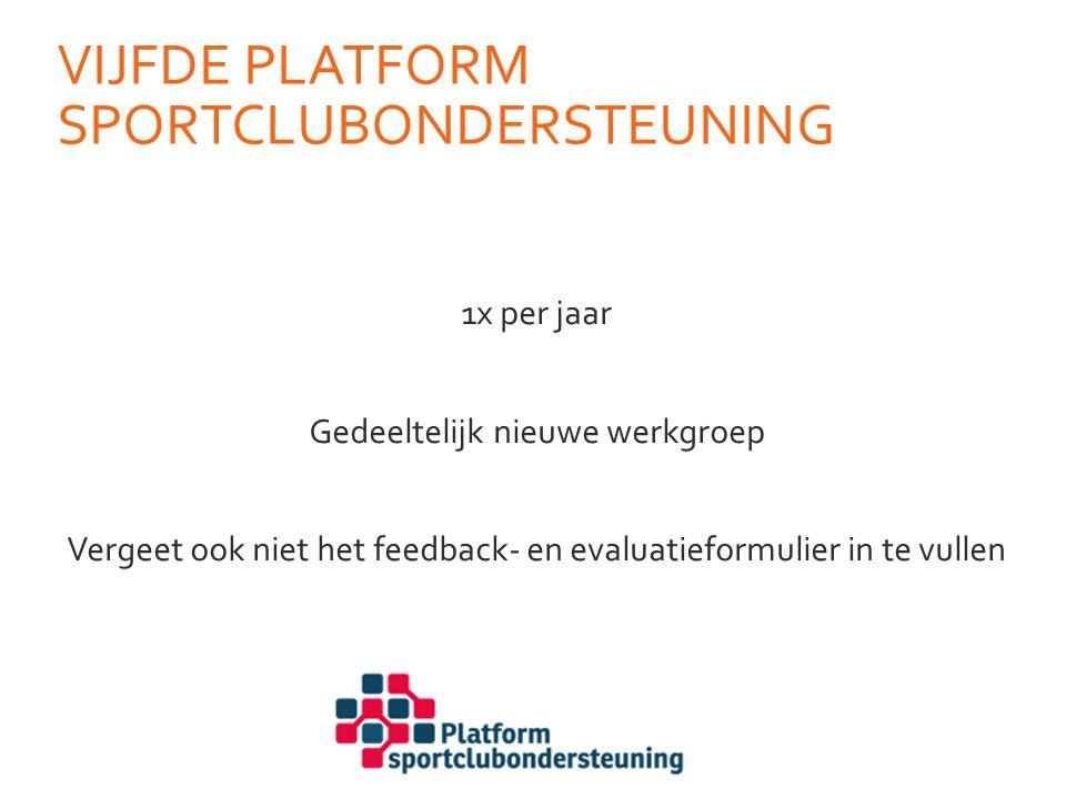 Vijfde platform SPortclubondersteuning