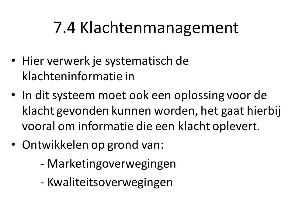 7.4 Klachtenmanagement Hier verwerk je systematisch de klachteninformatie in.