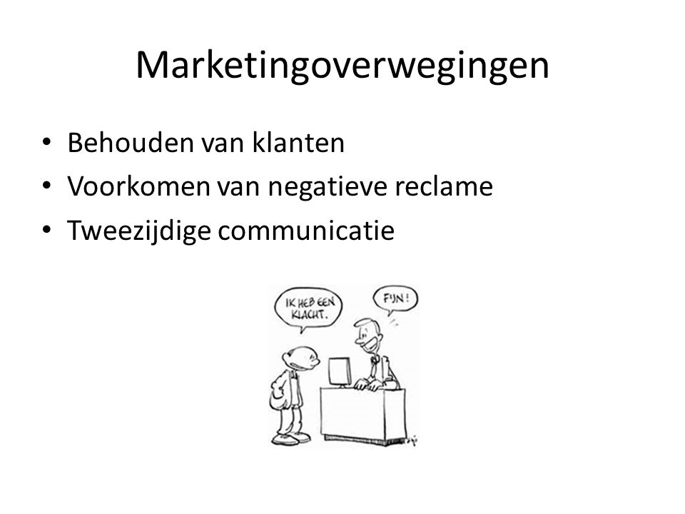 Marketingoverwegingen