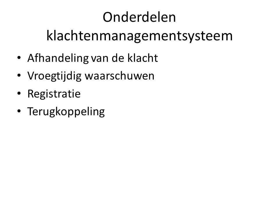 Onderdelen klachtenmanagementsysteem