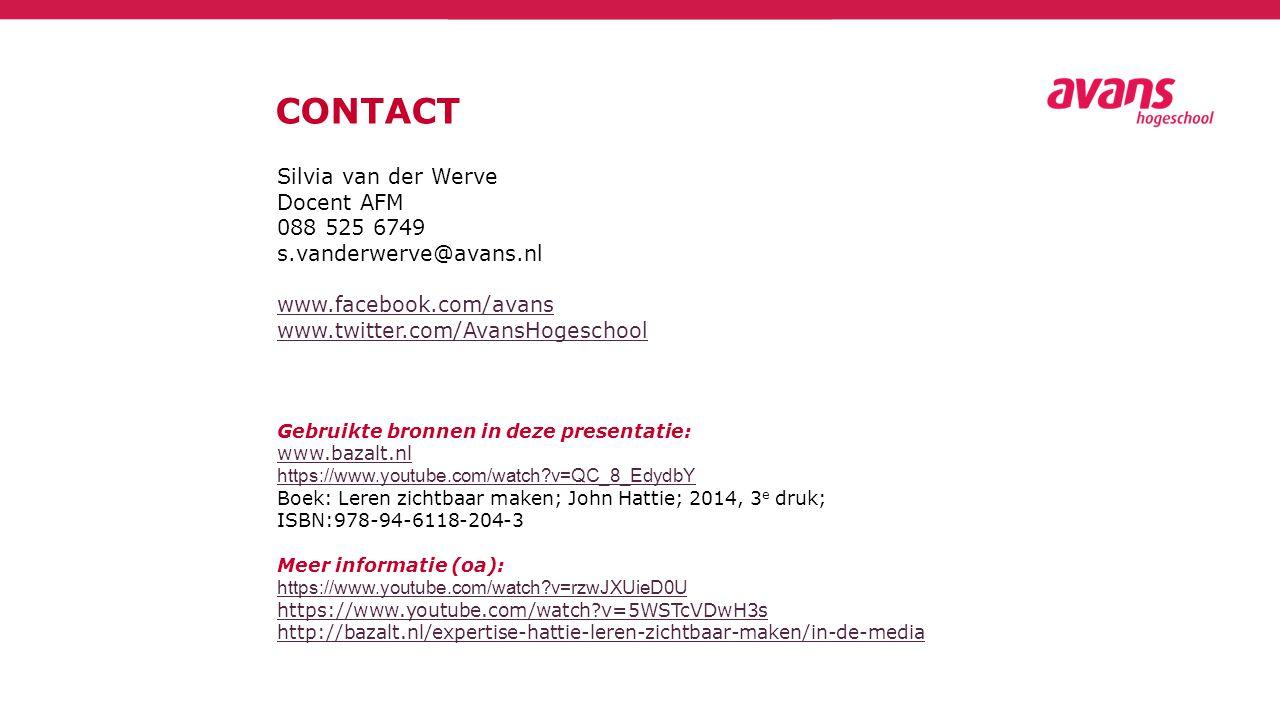 CONTACT Silvia van der Werve Docent AFM 088 525 6749