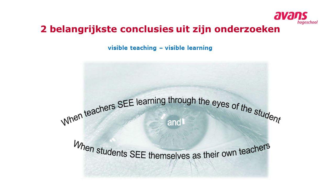 2 belangrijkste conclusies uit zijn onderzoeken visible teaching – visible learning