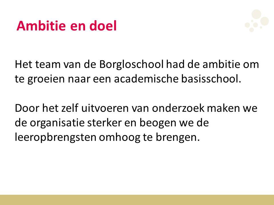 Ambitie en doel Het team van de Borgloschool had de ambitie om te groeien naar een academische basisschool.