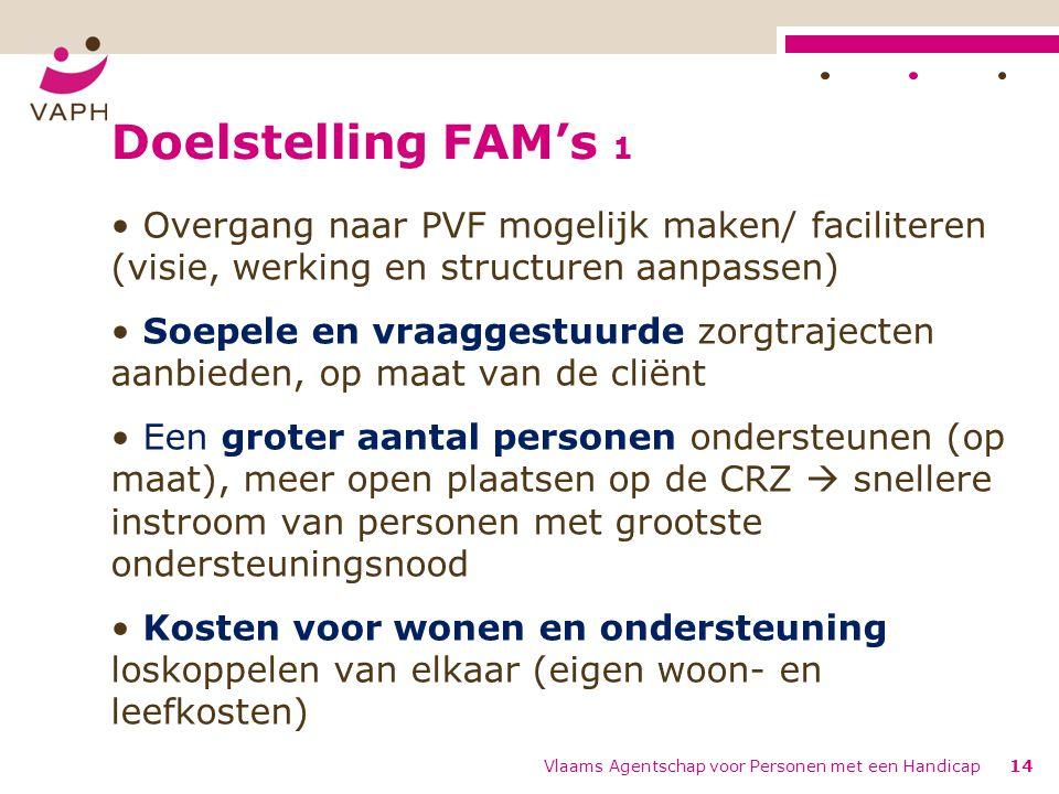 Doelstelling FAM's 1 Overgang naar PVF mogelijk maken/ faciliteren (visie, werking en structuren aanpassen)