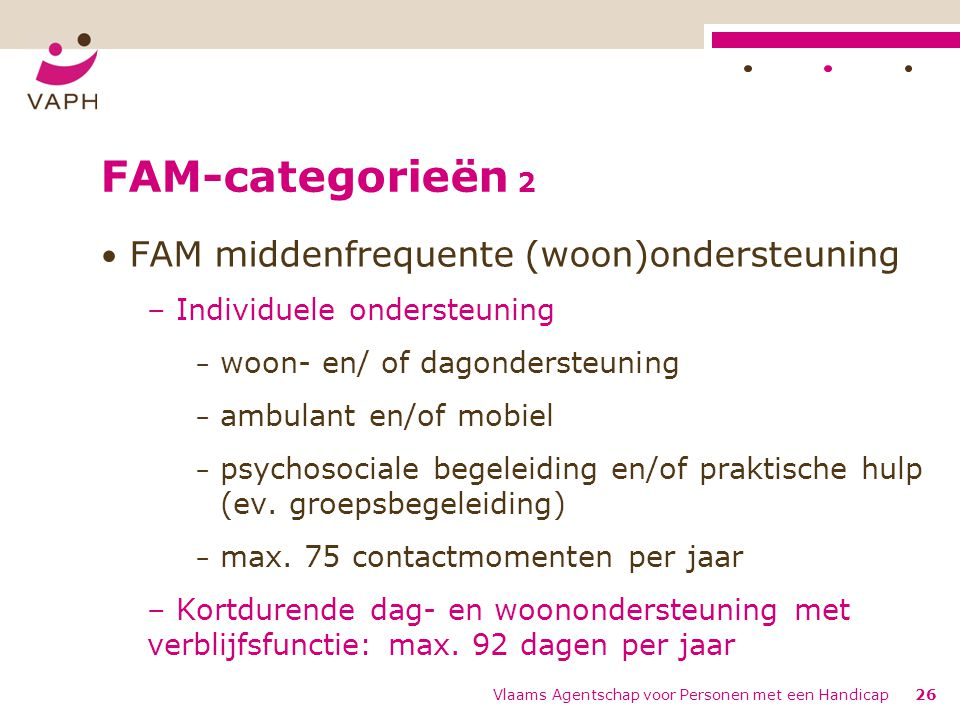FAM-categorieën 2 FAM middenfrequente (woon)ondersteuning