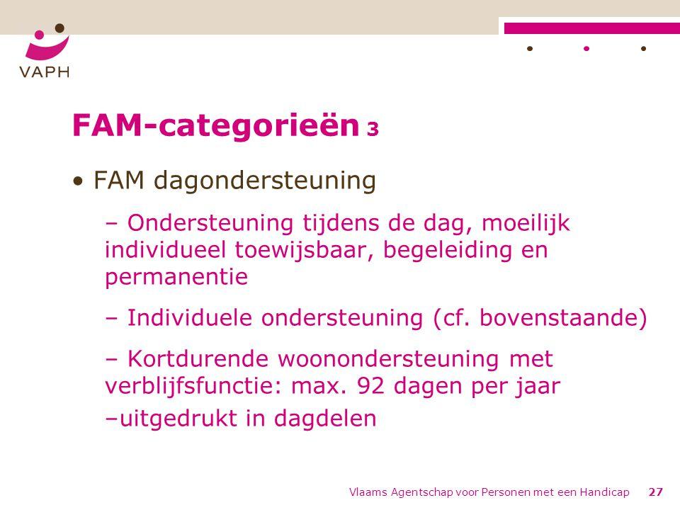 FAM-categorieën 3 FAM dagondersteuning