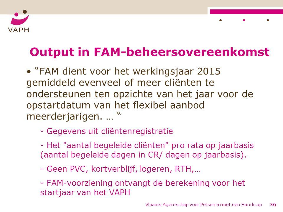 Output in FAM-beheersovereenkomst