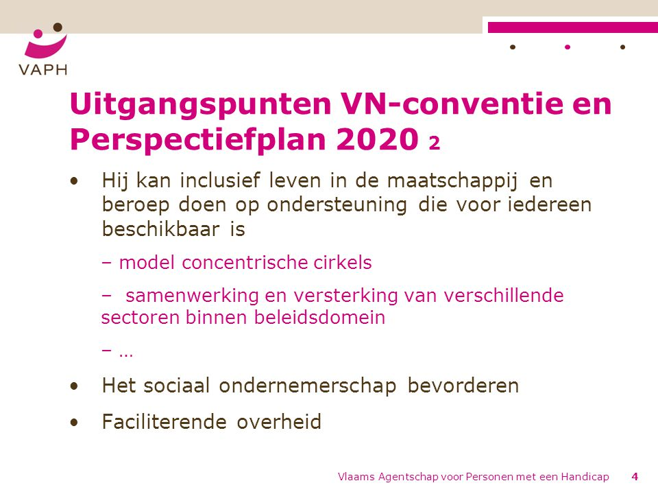 Uitgangspunten VN-conventie en Perspectiefplan 2020 2