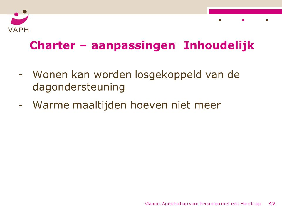 Charter – aanpassingen Inhoudelijk