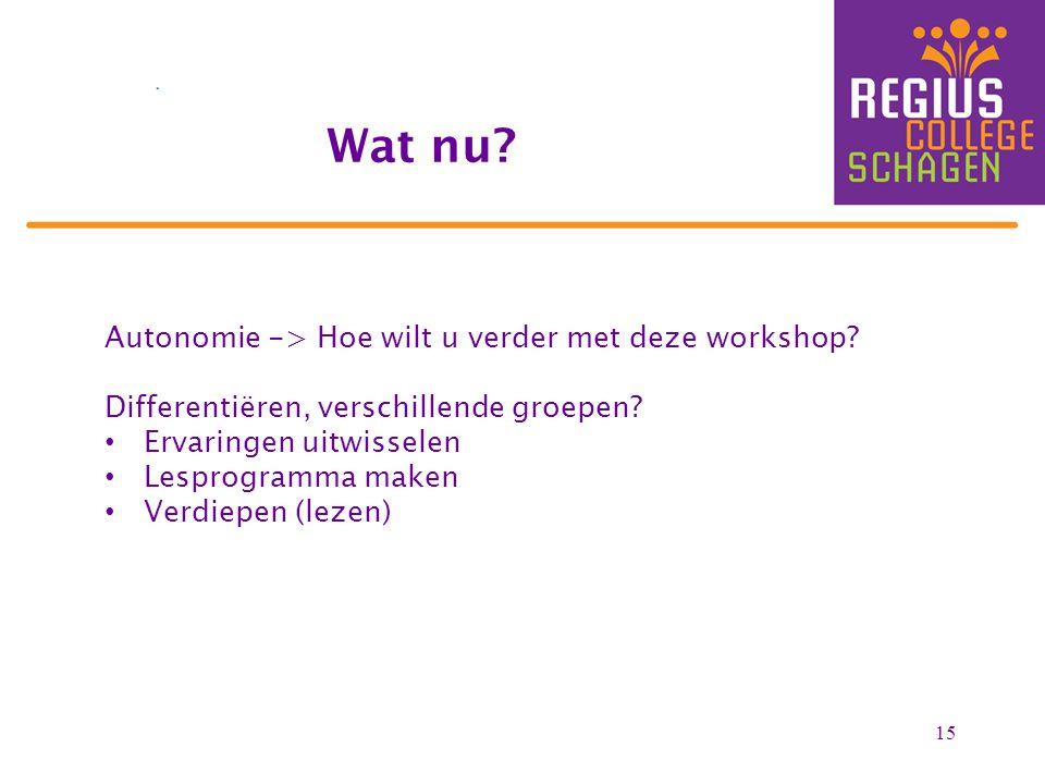 Wat nu Autonomie -> Hoe wilt u verder met deze workshop