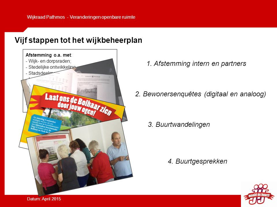Vijf stappen tot het wijkbeheerplan