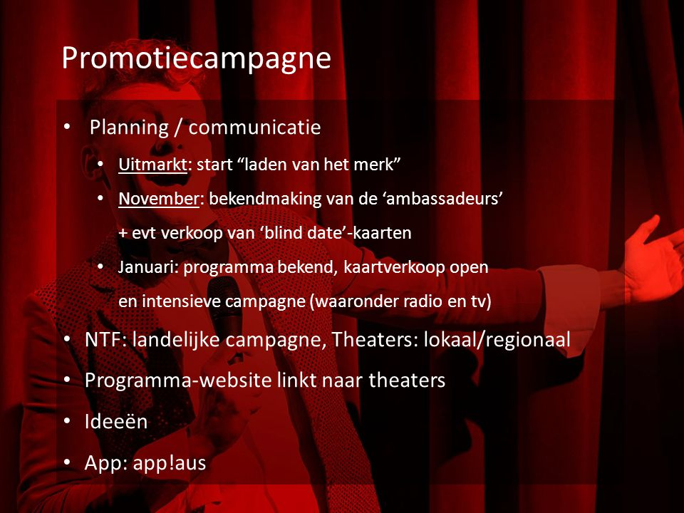 Promotiecampagne Planning / communicatie