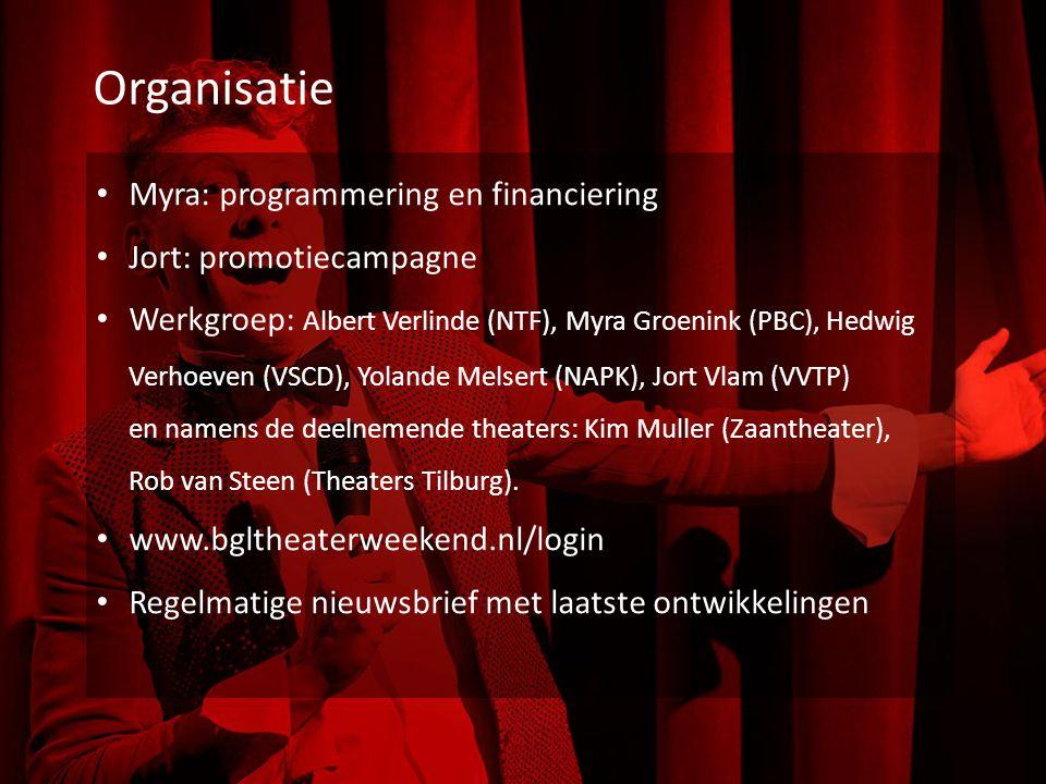 Organisatie Myra: programmering en financiering Jort: promotiecampagne