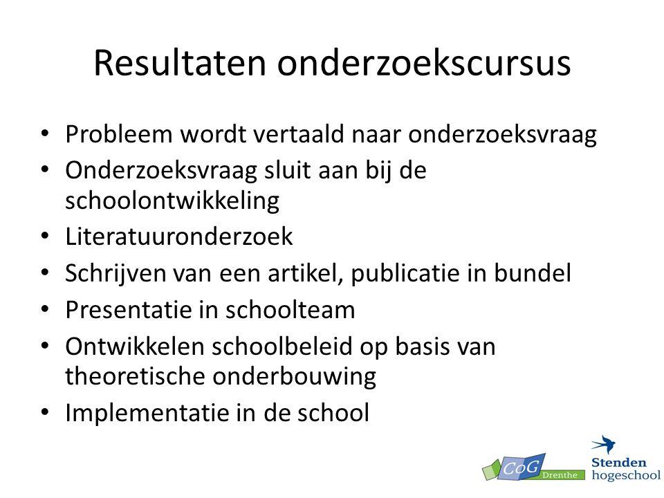 Resultaten onderzoekscursus