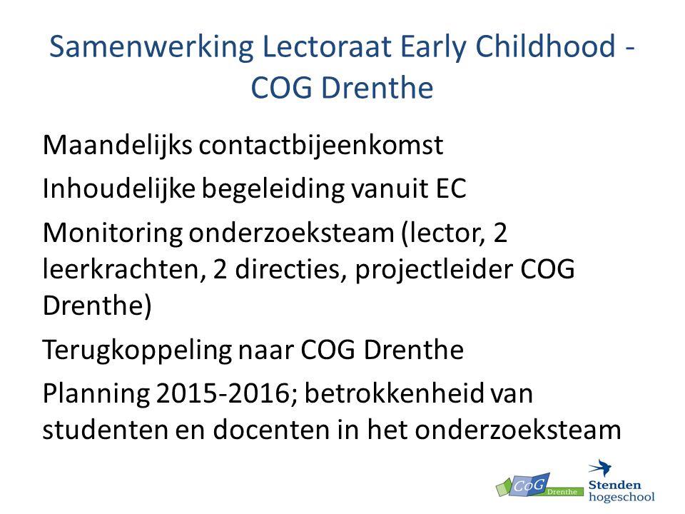 Samenwerking Lectoraat Early Childhood -COG Drenthe
