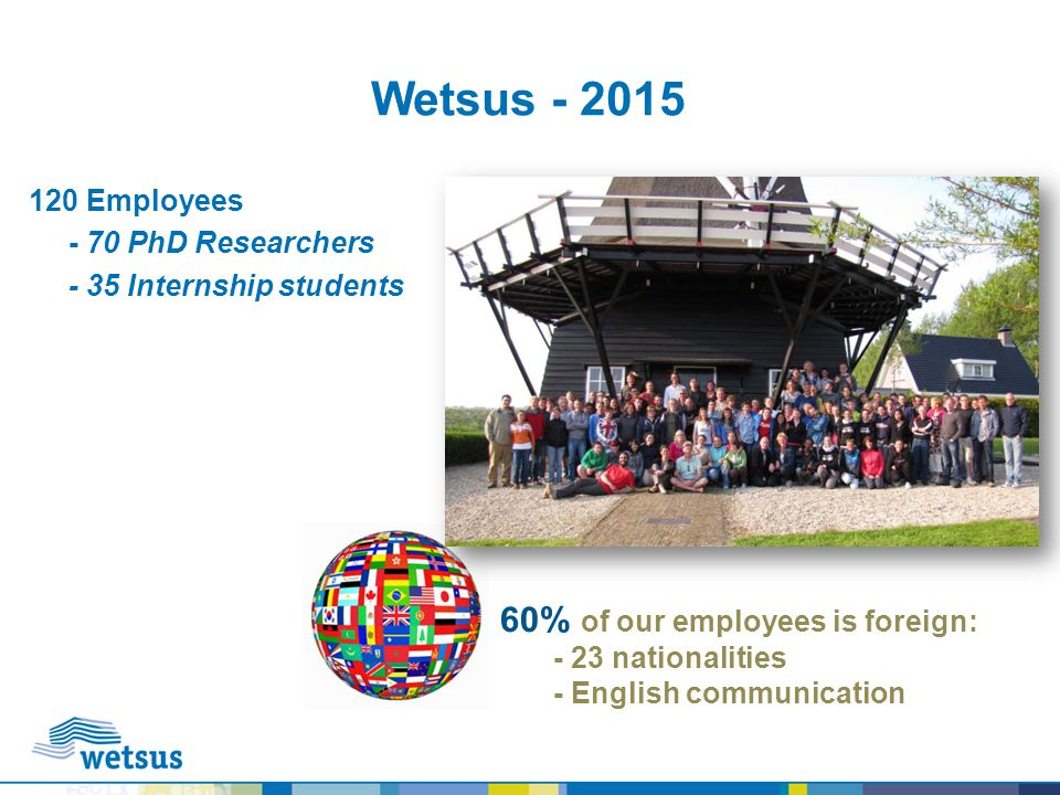 Wetsus - 2015 60% of our employees is foreign: 120 Employees
