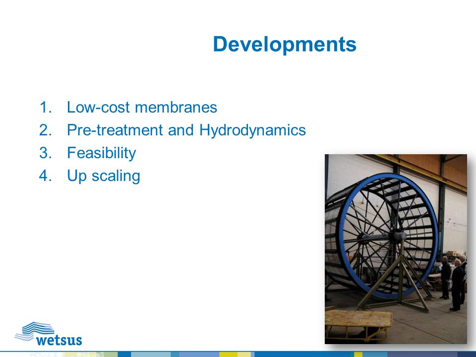 Developments Low-cost membranes Pre-treatment and Hydrodynamics