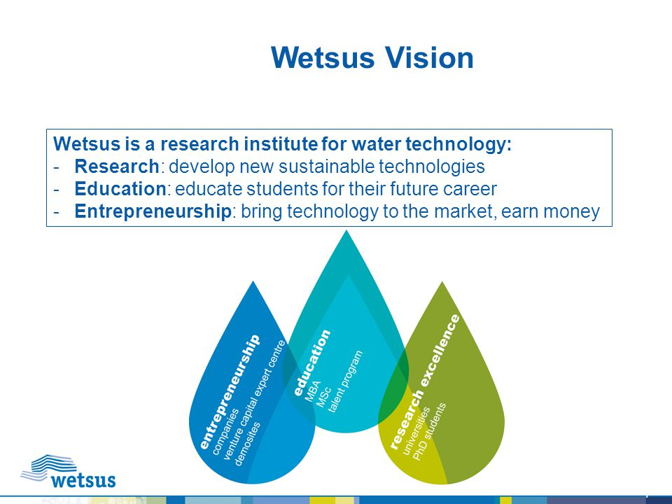 Wetsus Vision Wetsus is a research institute for water technology: