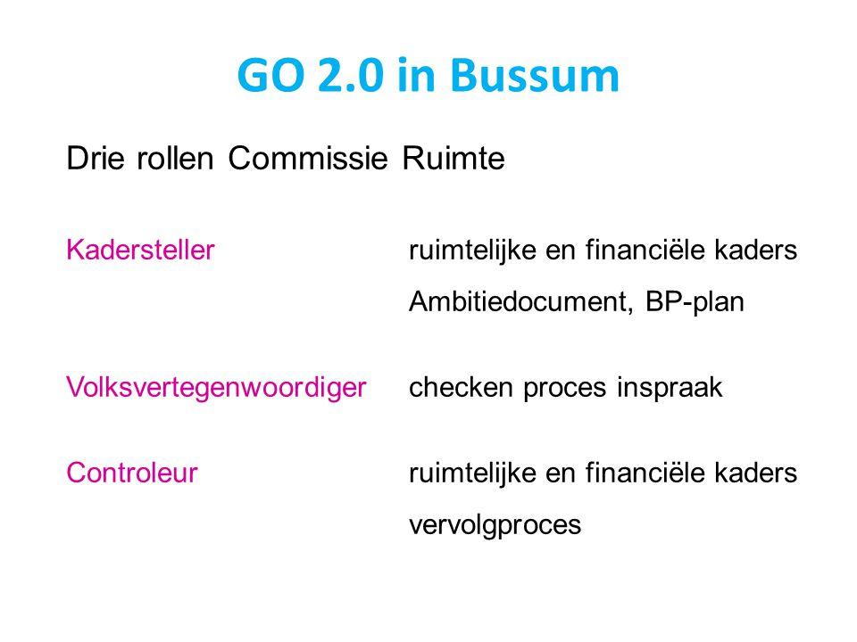 GO 2.0 in Bussum Drie rollen Commissie Ruimte