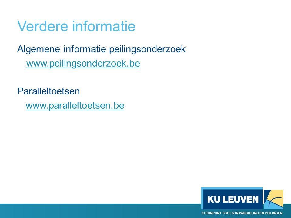 Verdere informatie Algemene informatie peilingsonderzoek www.peilingsonderzoek.be Paralleltoetsen www.paralleltoetsen.be