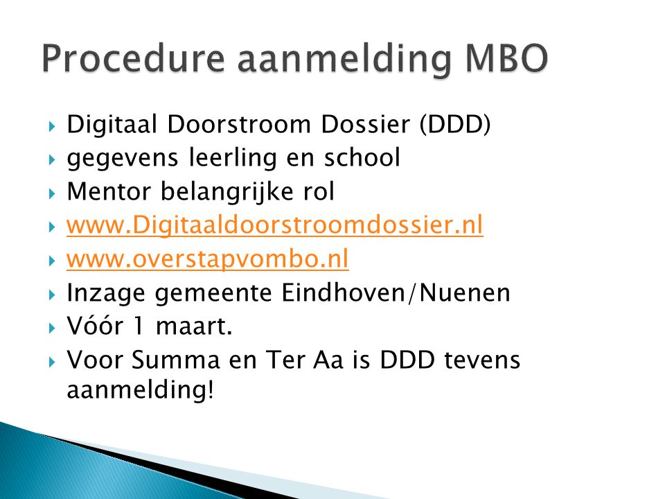 Procedure aanmelding MBO