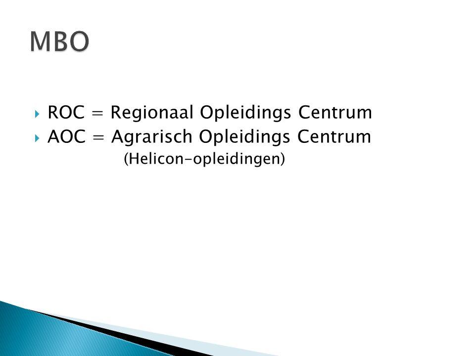 MBO ROC = Regionaal Opleidings Centrum