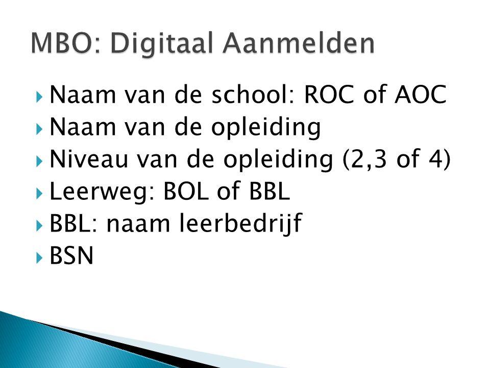 MBO: Digitaal Aanmelden