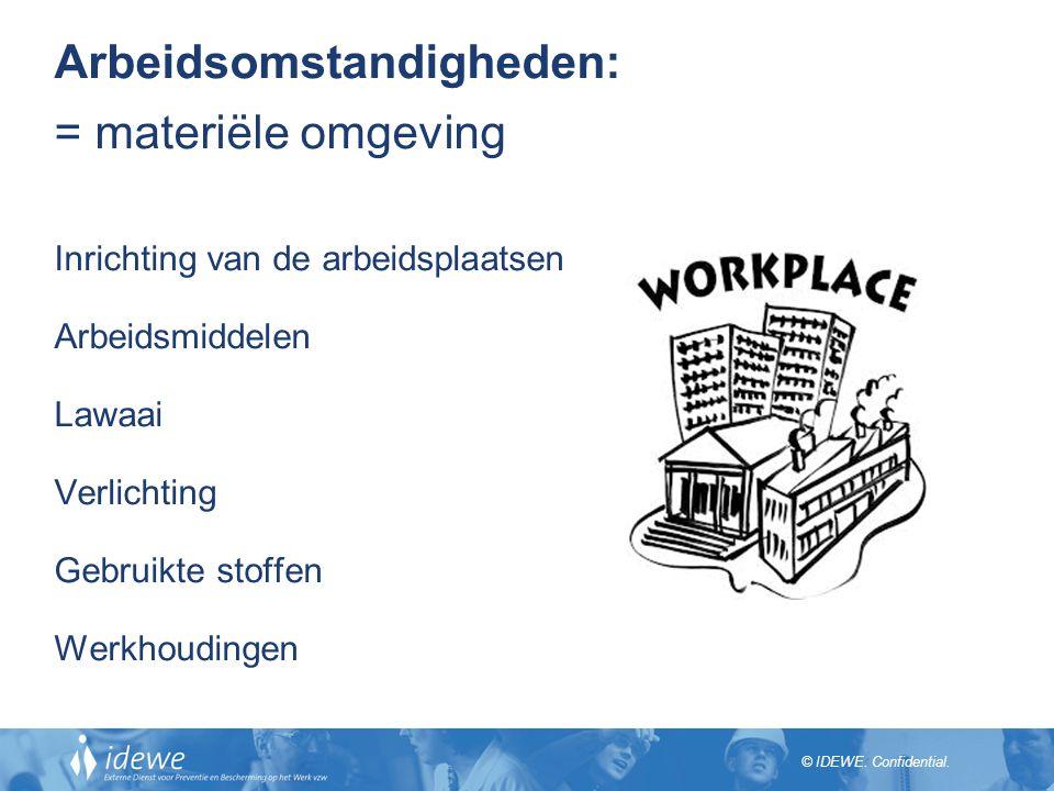 Arbeidsomstandigheden: = materiële omgeving