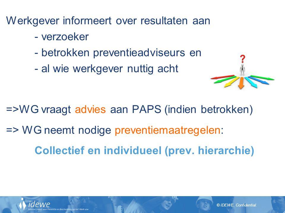 Werkgever informeert over resultaten aan - verzoeker - betrokken preventieadviseurs en - al wie werkgever nuttig acht =>WG vraagt advies aan PAPS (indien betrokken) => WG neemt nodige preventiemaatregelen: Collectief en individueel (prev.