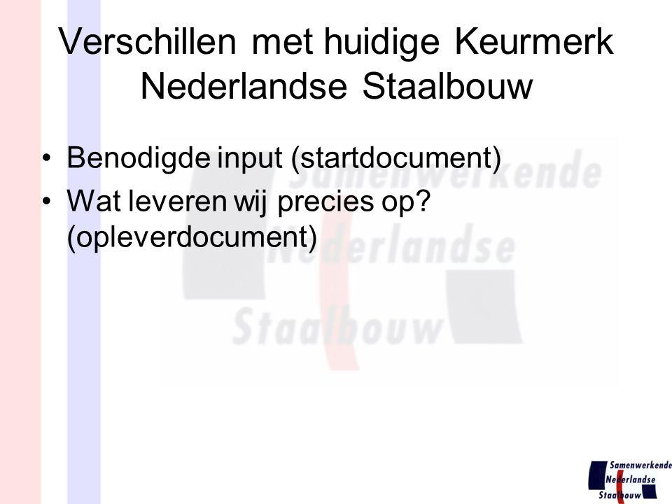 Verschillen met huidige Keurmerk Nederlandse Staalbouw