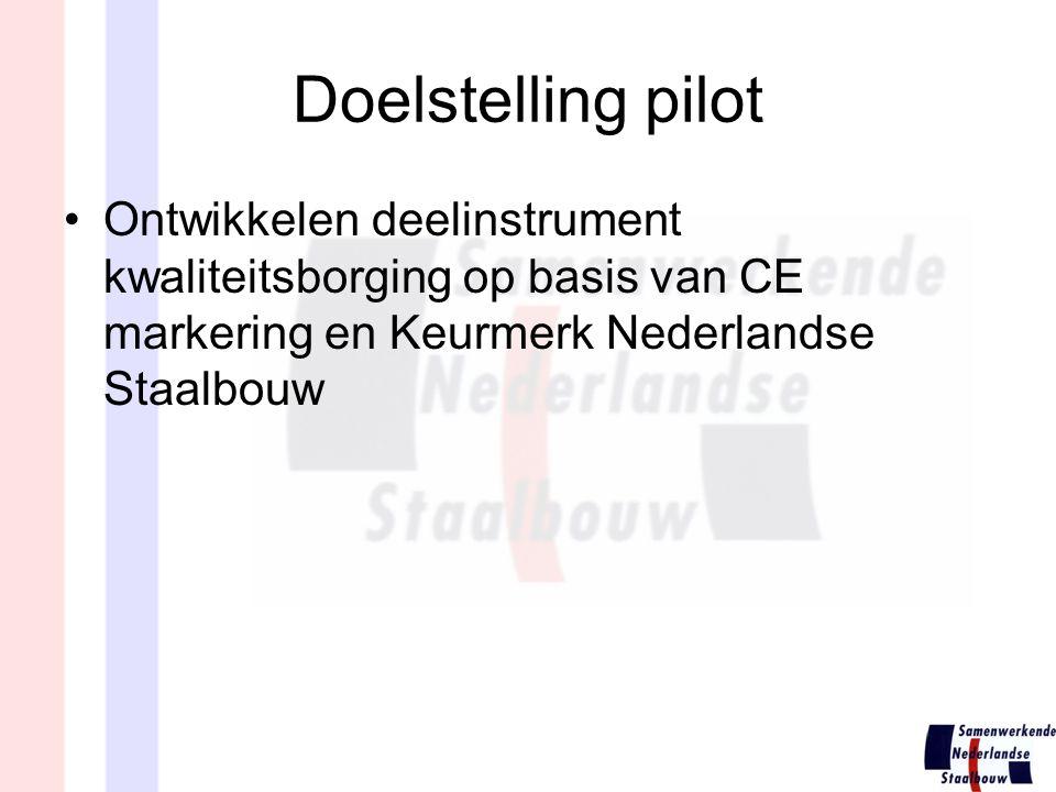 Doelstelling pilot Ontwikkelen deelinstrument kwaliteitsborging op basis van CE markering en Keurmerk Nederlandse Staalbouw.
