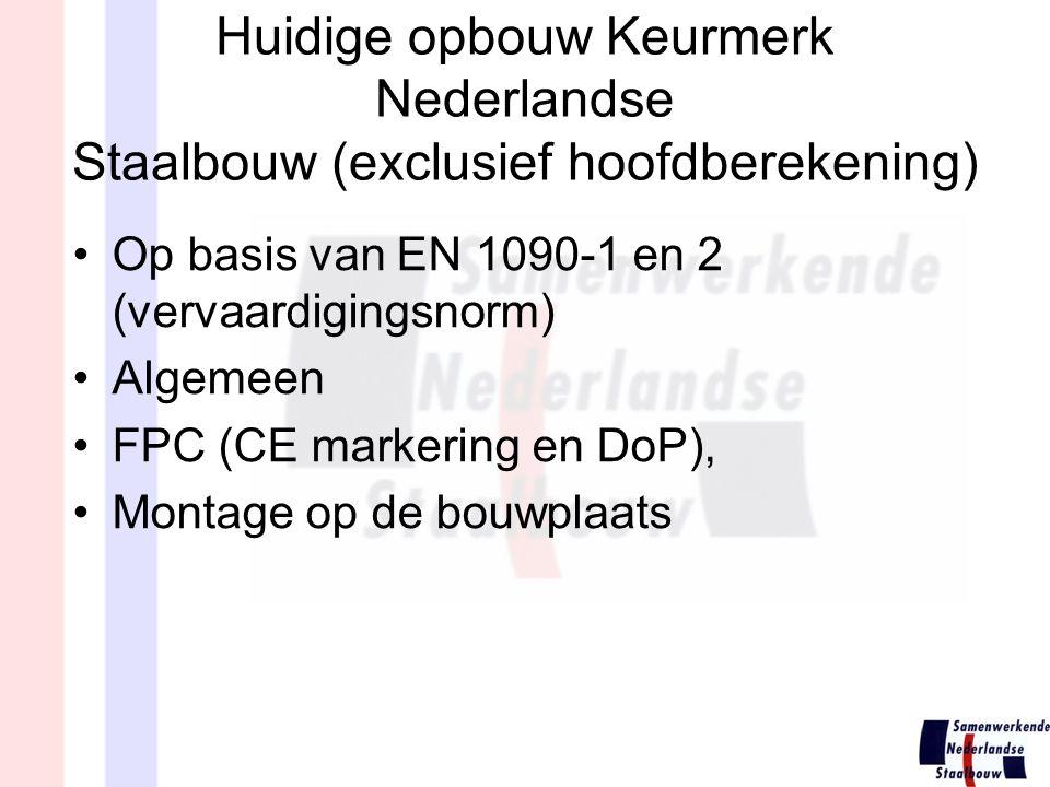 Huidige opbouw Keurmerk Nederlandse Staalbouw (exclusief hoofdberekening)